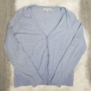LOFT - periwinkle light blue button up cardigan